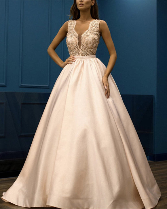 Pale-Pink-Prom-Dresses-Long-Satin-Lace-Embroidey-Evening-Gowns
