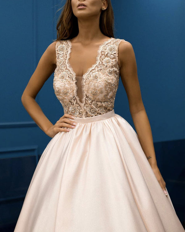 Dust-Pink-Evening-Dresses-Elegant-Prom-Gowns-Lace-Appliques