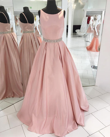 Image of Sexy Spaghetti Straps Long Pink Satin Prom Dresses Beaded Sashes