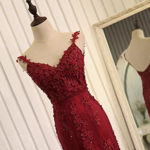 Image of Open Back Lace Mermaid Dresses With Straps
