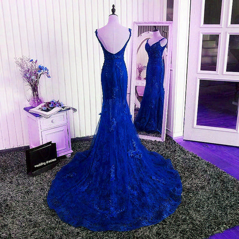 Image of Gorgeous V- Neck Open Back Lace Evening Dresses Mermaid Prom Gowns 2018