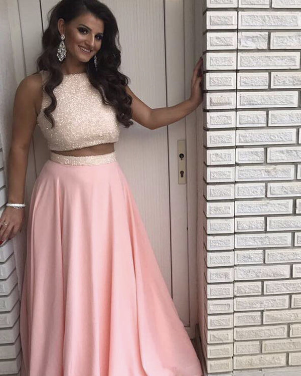 Luxury Sequins Top Long Chiffon Prom Dresses Two Piece
