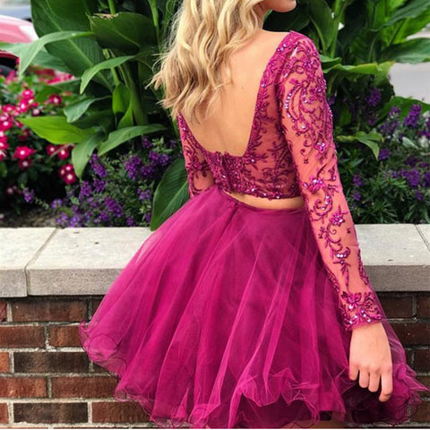 Image of Lace Embroidery Tulle Long Sleeves Homecoming Dresses Two Piece