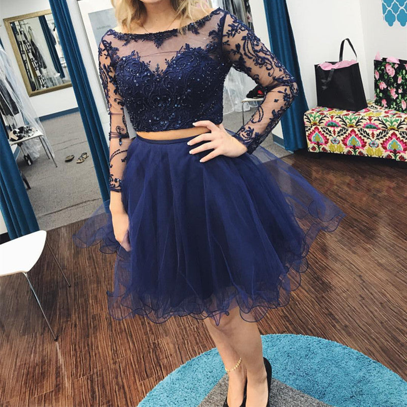 Lace Embroidery Tulle Long Sleeves Homecoming Dresses Two Piece