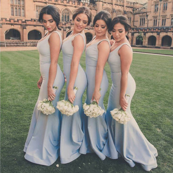 Simple Satin V-neck  Long Mermaid Bridesmaid Dresses