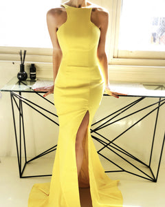 Yellow-Evening-Dresses-Mermaid-Backless-Prom-Gowns