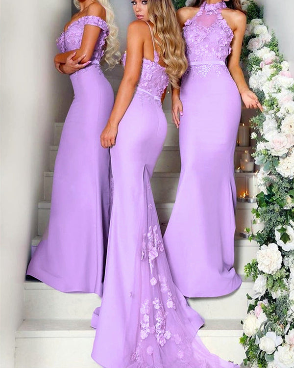 Lilac-Bridesmaid-Dresses-Mermaid-Long-Jersey-Gowns