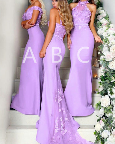 Image of Elegant-Long-Bridesmaid-Dresses-Mermaid-Appliques-Evening-Gowns
