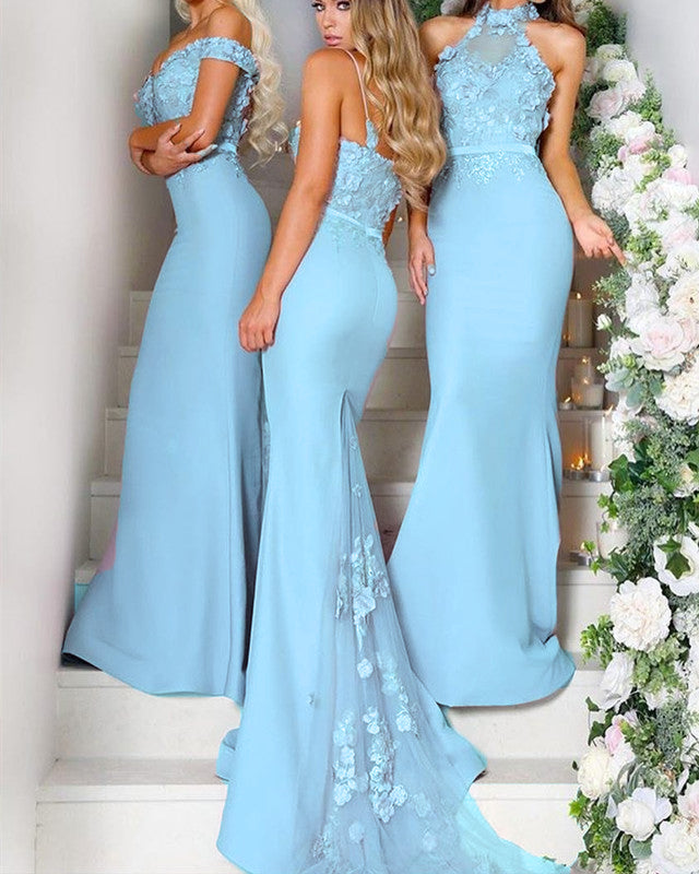 aad135a0c8f Light Blue Bridesmaid Dresses Long Mermaid Gowns Lace Embroidery ...