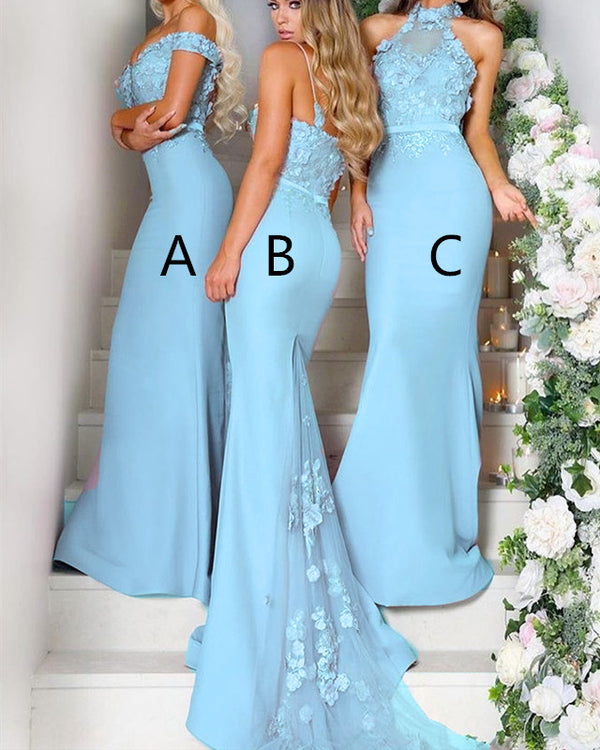Luxurious Lace Flower Long Jersey Court Train Mermaid Bridesmaid Dresses