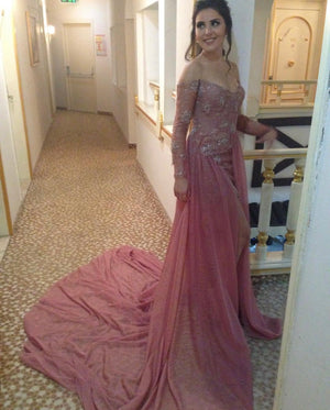 4b109b1723b Long Sleeves V-neck Lace Prom Dresses Off Shoulder Evening Gowns ...