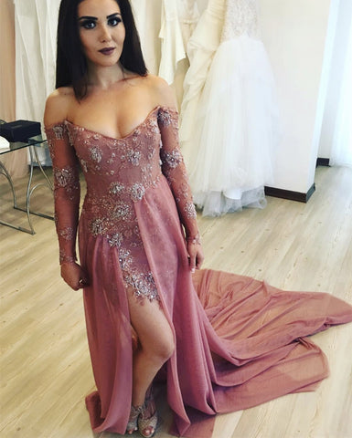 Image of Long Sleeves V-neck Lace Prom Dresses Off Shoulder Evening Gowns