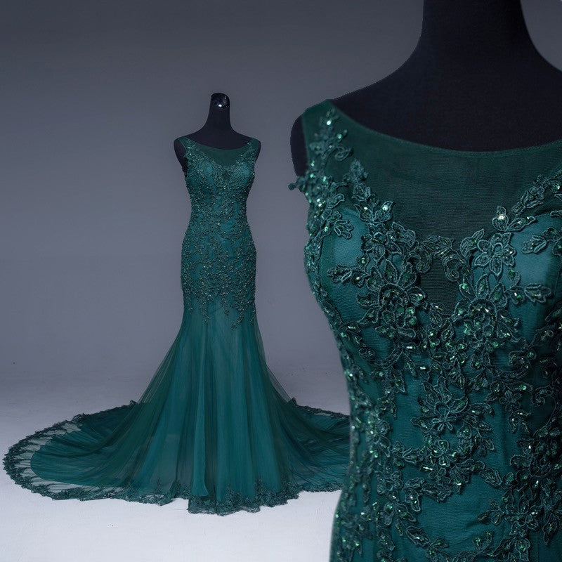 a360a460d2 Emerald Green Tulle Mermaid Prom Dresses Lace Appliques Formal Dress.  Double tap to zoom
