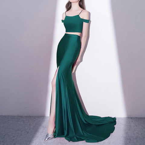Image of Mermaid Style Long Green Jersey Two Piece Prom Dresses 2018