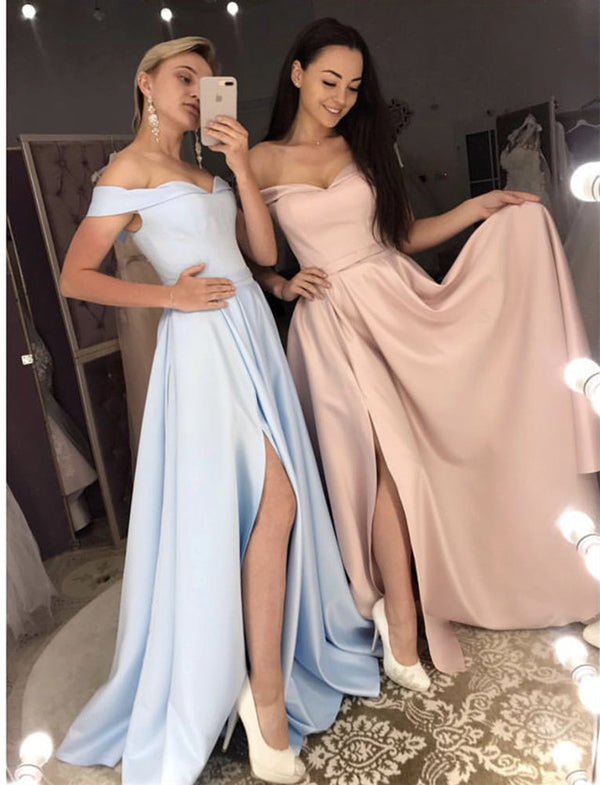 Long Bridesmaid Dresses Off Shoulder Satin Split Gowns