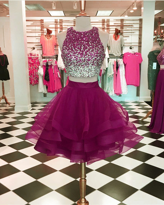 Ombre Sequins Beaded Ruffle Homecoming Dresses Two Piece