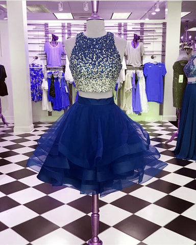 Image of Ombre Sequins Beaded Ruffle Homecoming Dresses Two Piece