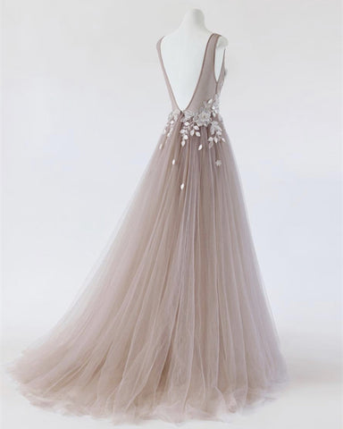 See Through Prom Dresses Tulle Embroidery Evening Gowns