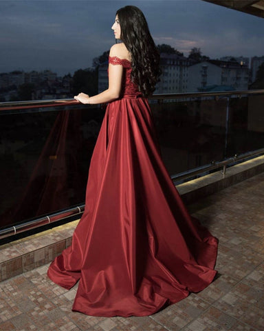 Image of Burgundy-Evening-Dresses-Sequin-Lace-Off-Shoulder-Formal-Prom-Gowns