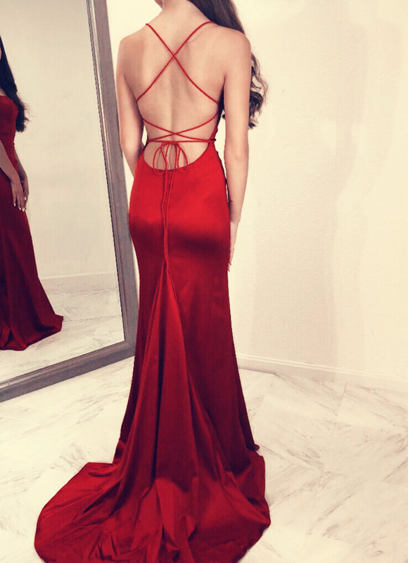 Sexy Spaghetti Straps Open Back Mermaid Prom Dresses