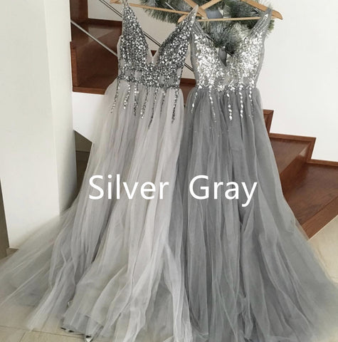 Image of Sparkly Crystal Beaded V-neck Tulle Split Evening Dresses