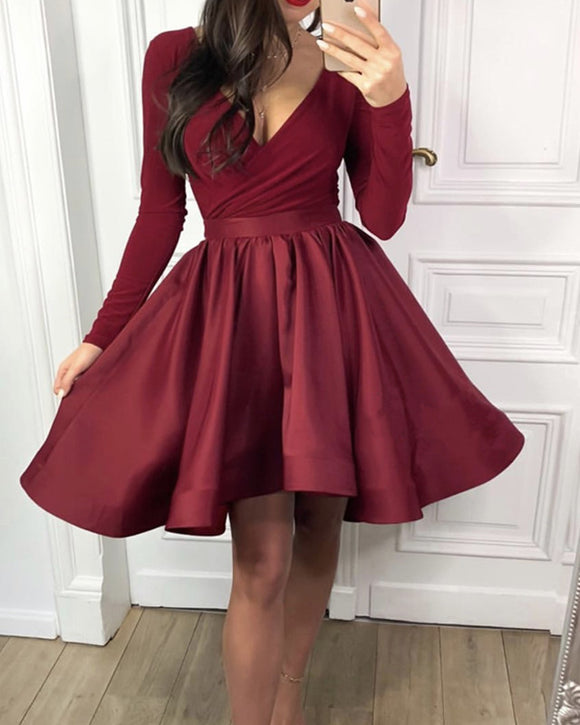 Modest Velvet Long Sleeves Satin Ruffles Homecoming Dresses