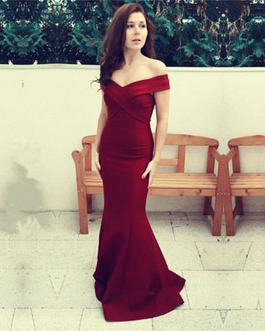 Image of Bridesmaid-Dresses-Long-Burgundy-Prom-Dresses-Mermaid