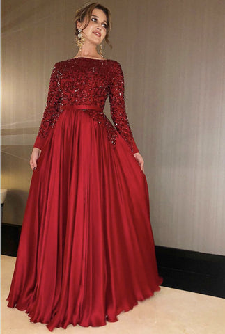 Image of Long Sleeves Floor Length Satin Evening Dresses Sequin Beaded