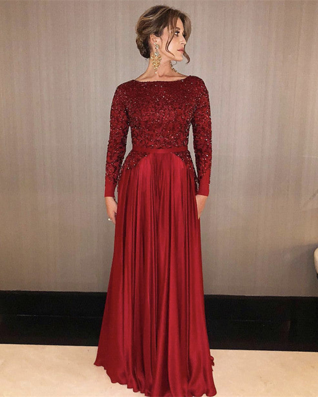 Evening Dresses Long Sleeves Sequin Beaded Prom Satin Gowns Alinanova,Plus Size Black Dress For Wedding Guest