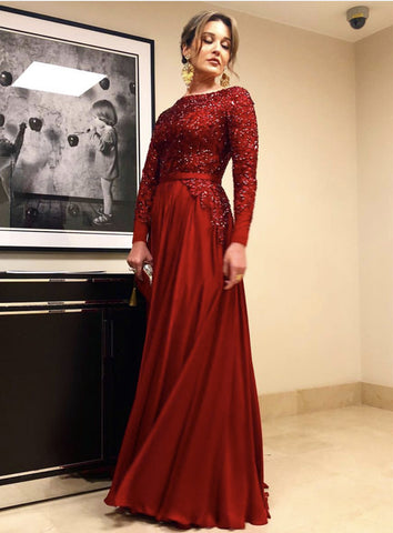 4236304264 ... Image of Long Sleeves Floor Length Satin Evening Dresses Sequin Beaded  ...