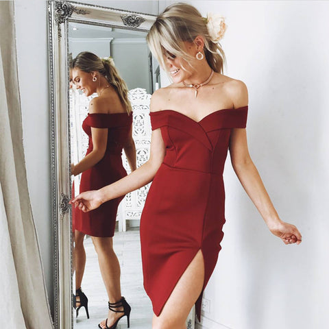 Image of Burgundy Jersey V-neck Leg Slit Homecoming Dress Off The Shoulder