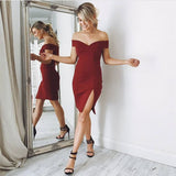 Burgundy Jersey V-neck Leg Slit Homecoming Dress Off The Shoulder