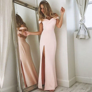 V Neck Off The Shoulder Satin Mermaid Evening Dress Long Split Prom Gowns 2018