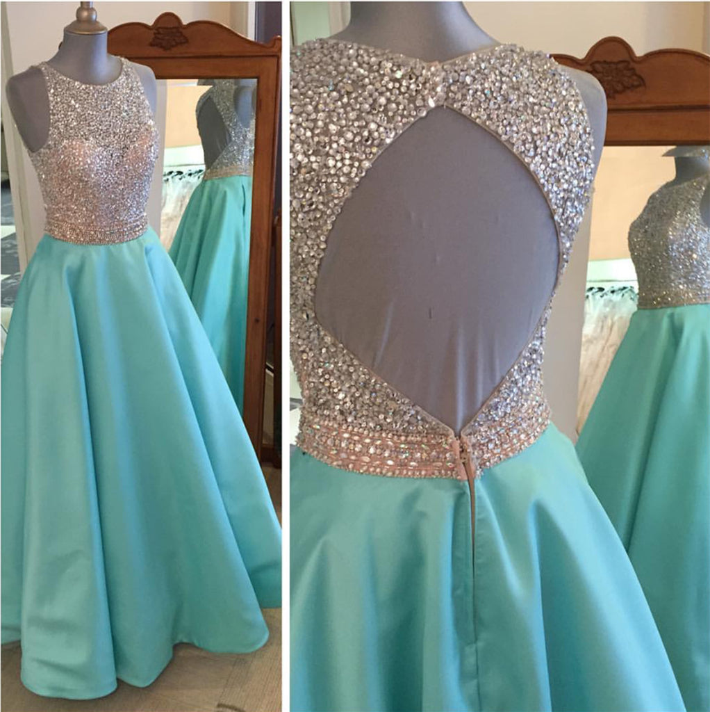 Jewelry Neck Sequins Beaded Long Satin Open Back Prom Dresses 2018