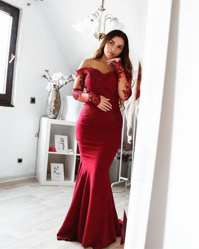 8a9632207d3 Long Sleeves Bridesmaid Dresses Burgundy Lace Appliques Formal Gowns –  alinanova
