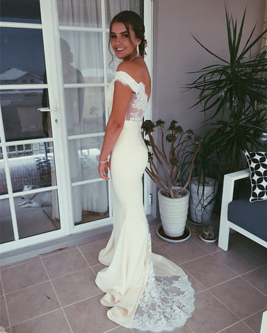 Image of Elegant V-neck Off The Shoulder Mermaid Appliques Prom Dresses