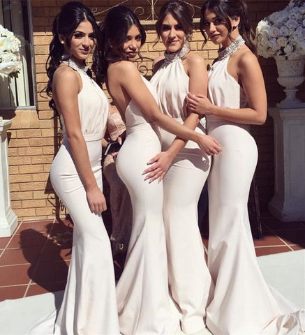 Image of Bridesmaid-Dresses-Halter-Top
