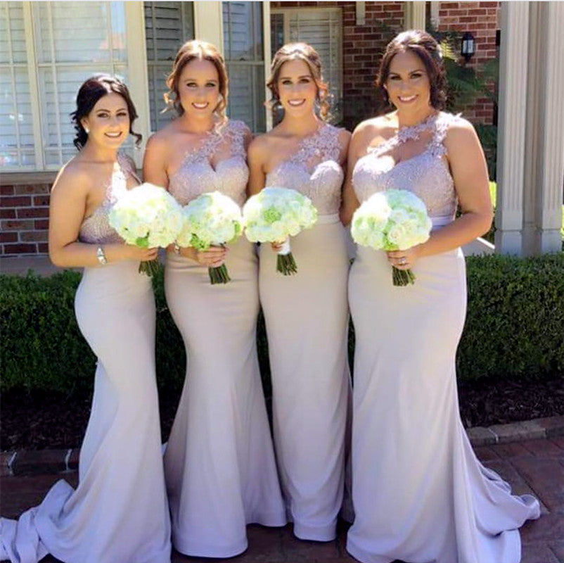 6642bf02d845 Double tap to zoom · Elegant Lace Appliques Mermaid Style One Shoulder Bridesmaid  Dresses