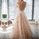 Elegant Lace Sweetheart Tulle A-line Backless Wedding Dresses 2018