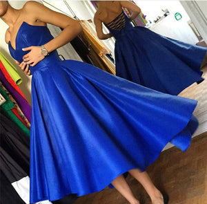 High Low Hem Style Satin Royal Blue Prom Dresses