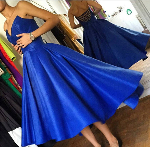 Image of High Low Hem Style Satin Royal Blue Prom Dresses