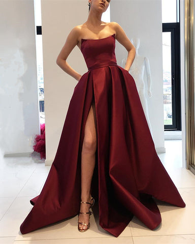 Image of Simple Long Satin Celebrity Dresses