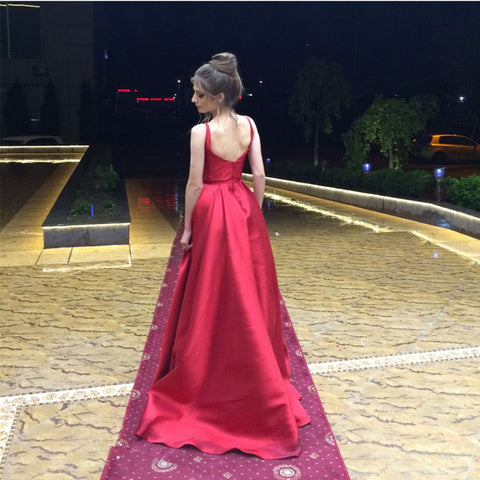 Image of Burgundy Satin Long Backless Bridesmaid Dresses For Wedding Party