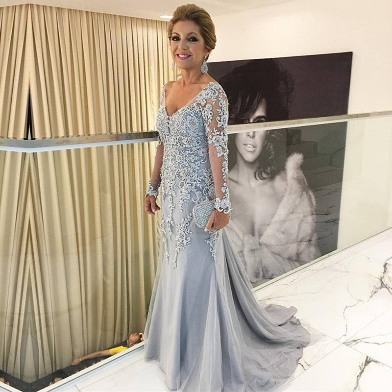 14b121ec38c Silver Lace Appliques Long Sleeves Mermaid Evening Dresses For Mother Of  The Bride. Double tap to zoom