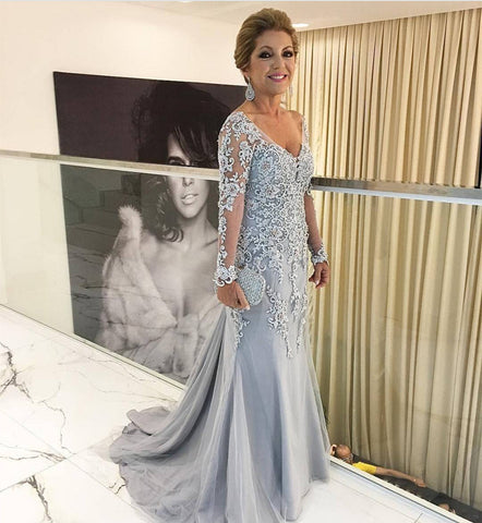 Image of Silver Lace Appliques Long Sleeves Mermaid Evening Dresses For Mother Of The Bride