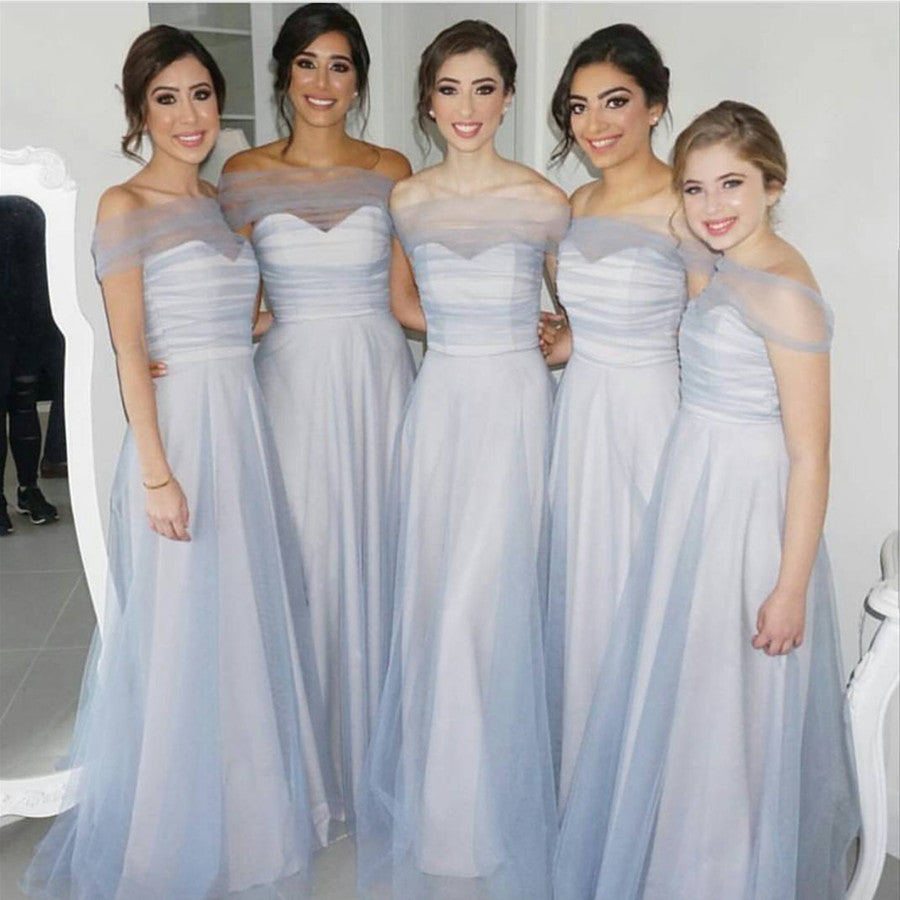 Bridesmaid Silvers: Sexy Off The Shoulder Long Silver Tulle Bridesmaid Dresses