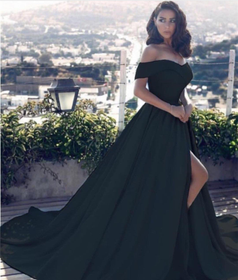 Sexy Leg Slit Long Satin Evening Gowns Off Shoulder Prom