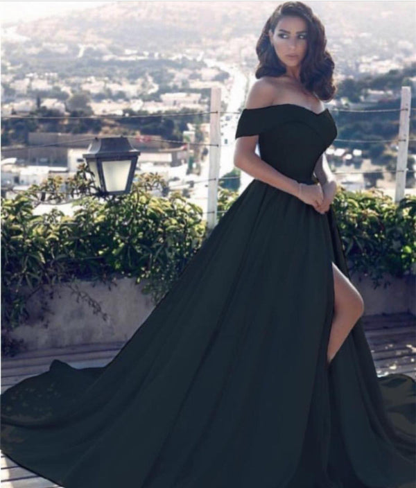 Off Shoulder Long Satin Prom Dresses 2019 Formal Evening Gowns