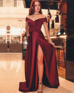 Burgundy-V-neck-Off-The-Shoulder-Prom-Long-Dresses-2019