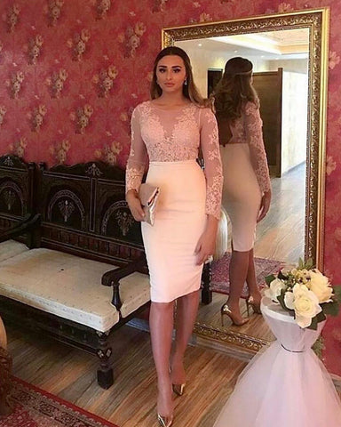 Image of Long Sleeves Lace Appliques Sheath Homecoming Party Dresses For Women
